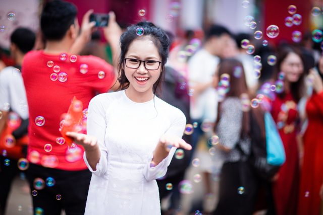 Happy Person with Bubbles